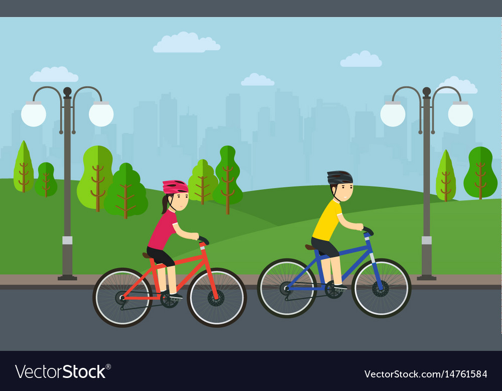 Cycling man with woman on bikes ride in city park