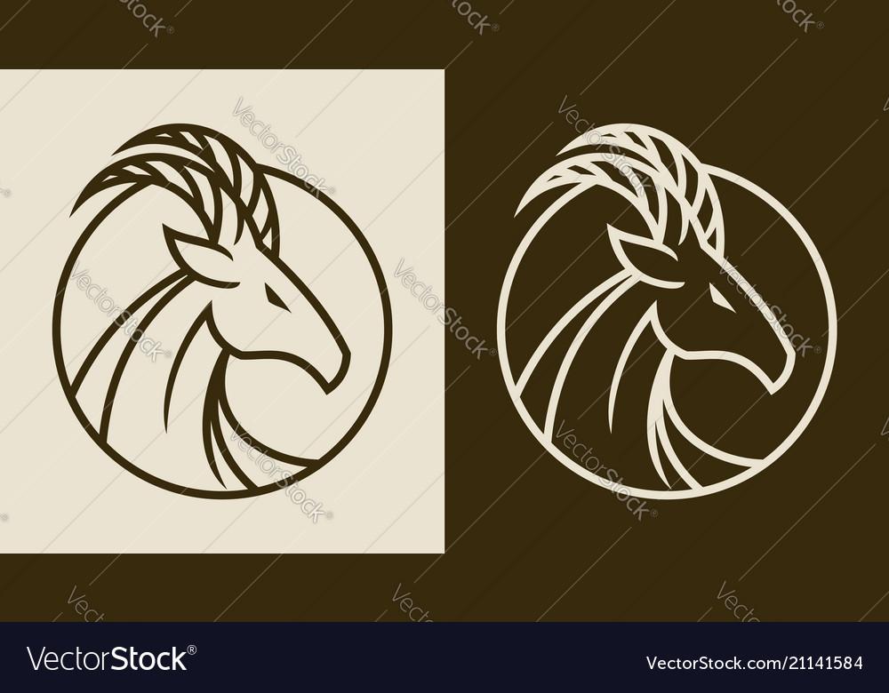 Elegant goat head emblem