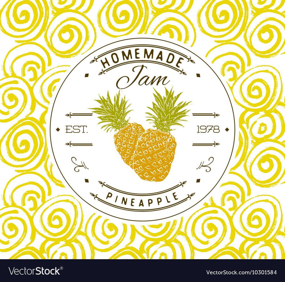 jam label design template for pineapple dessert vector image