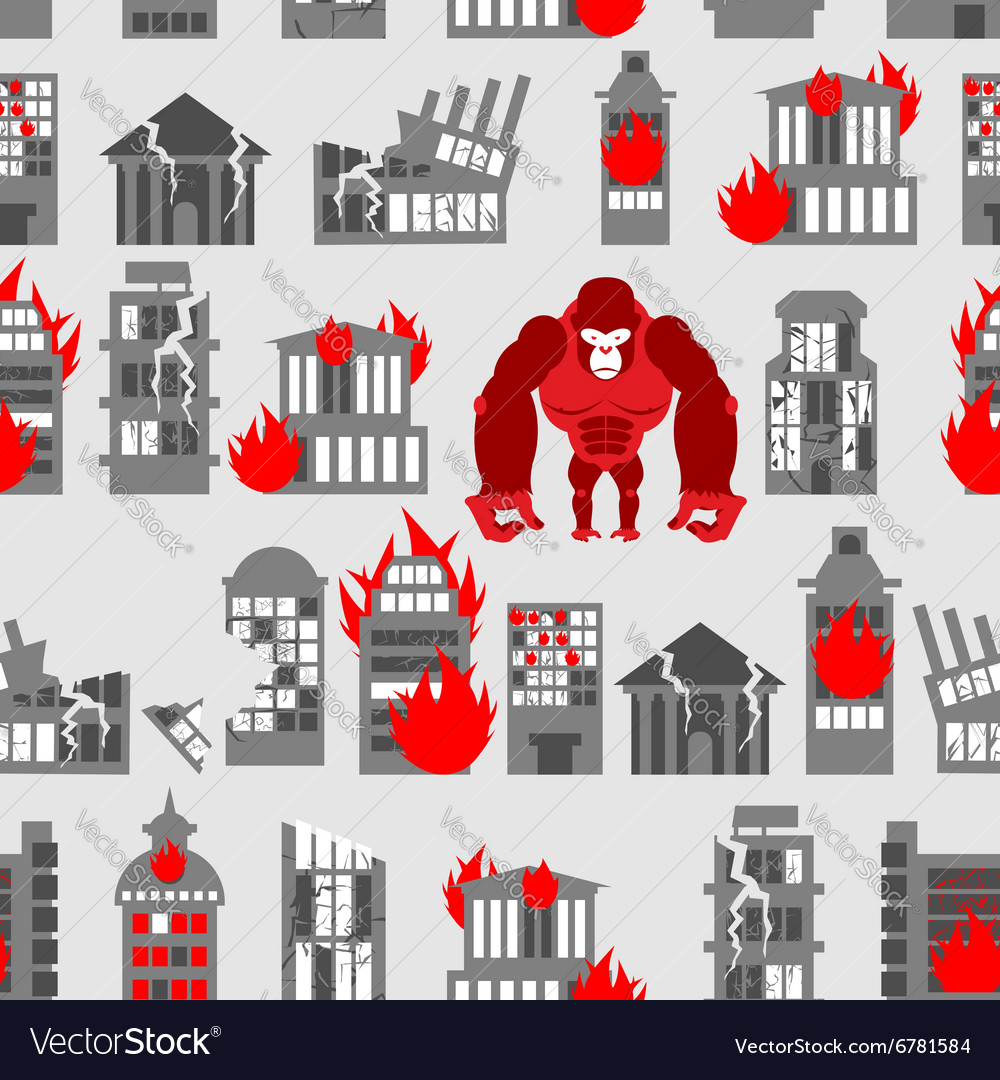 King Kong Ruined building seamless pattern vector image