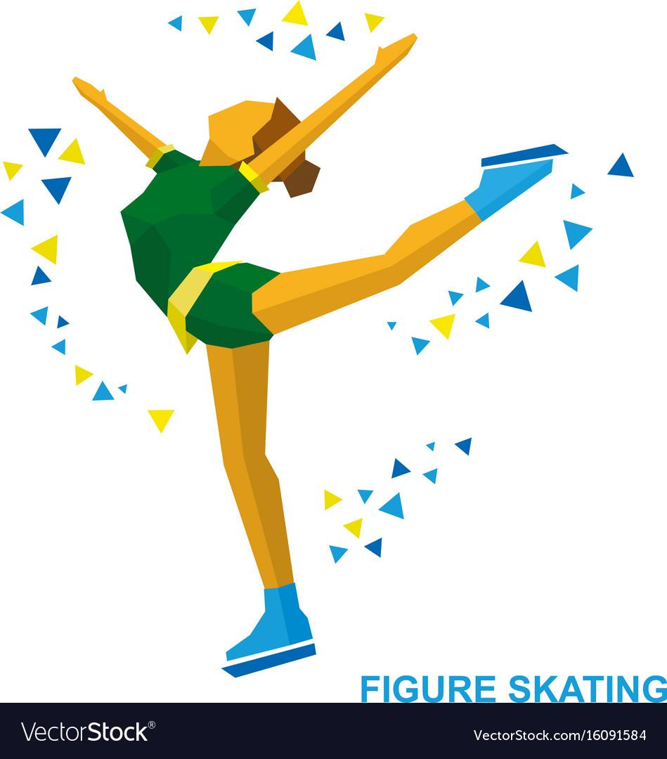 Ladies figure skating skating girl training vector image