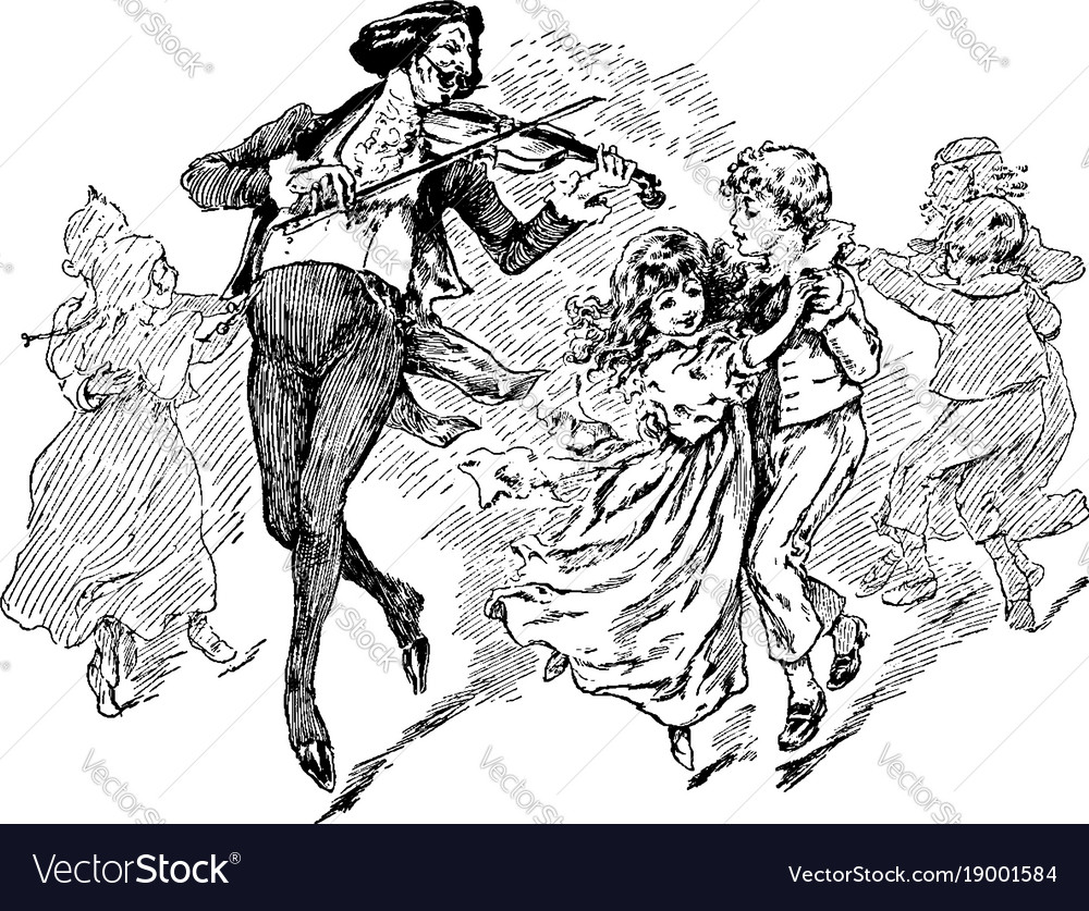 Man playing violin with children dancing vector image