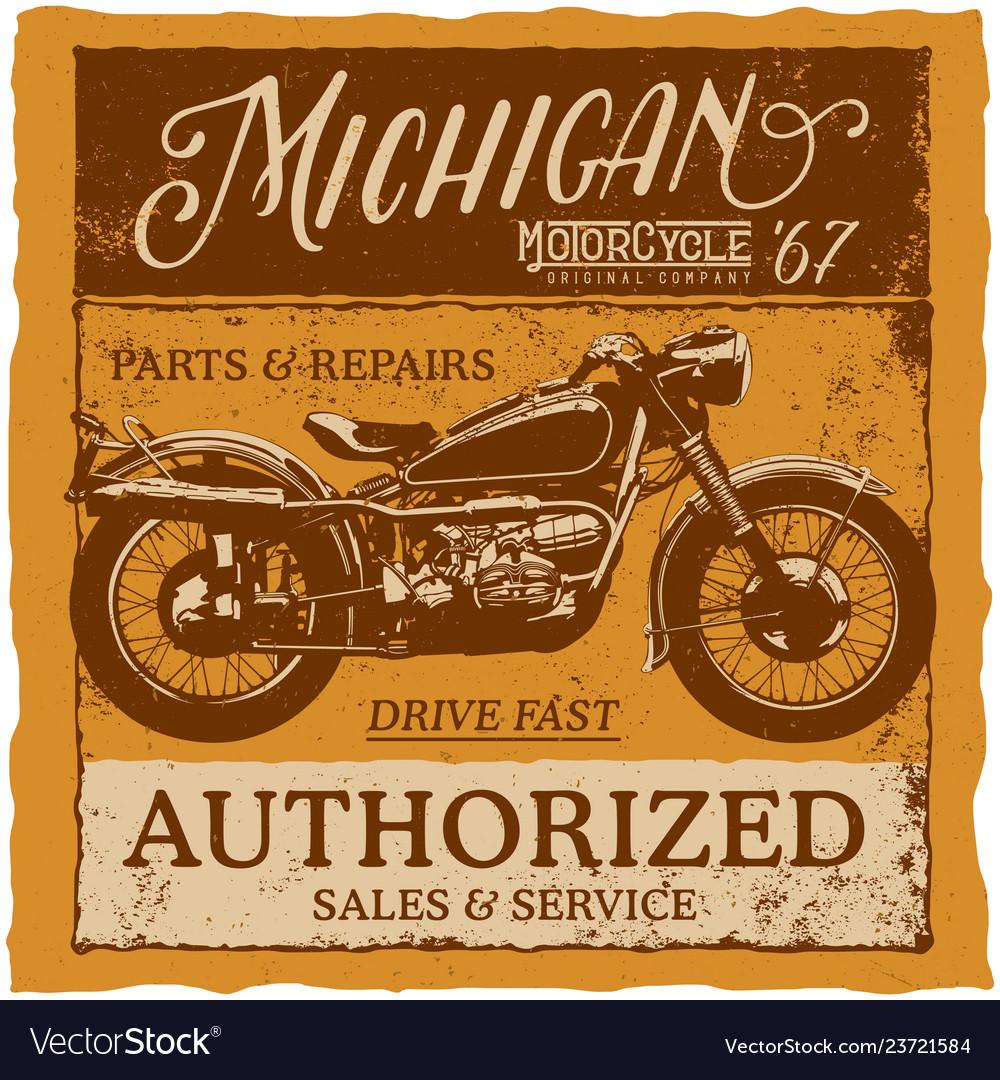 Michigan vintage label typeface poster