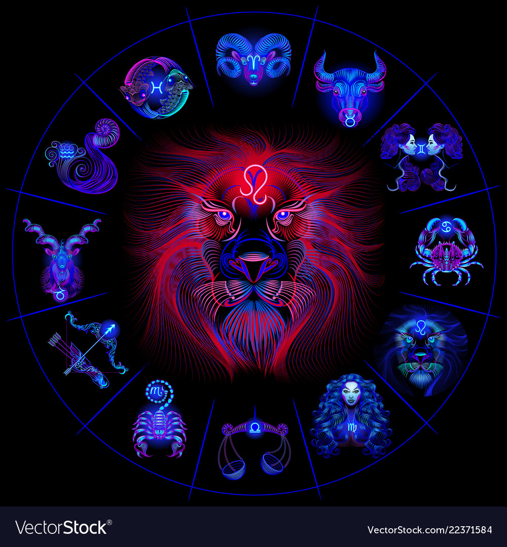 Neon horoscope circle with signs of zodiac set