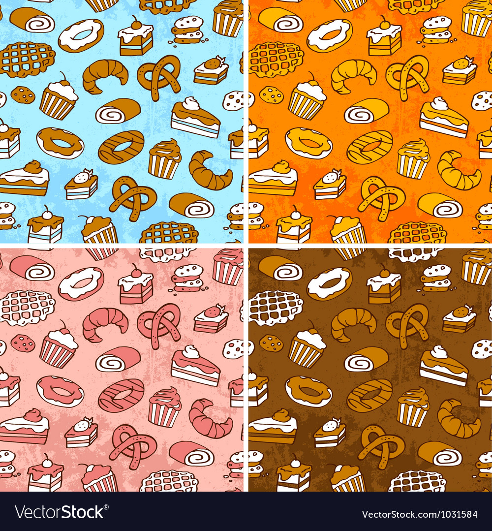 Pastries patterns vector image