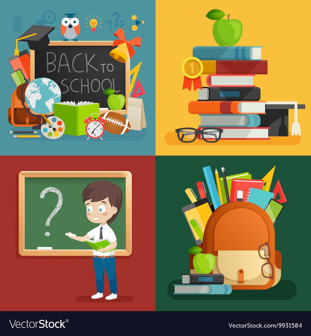 School theme set Back to school backpack schoolboy