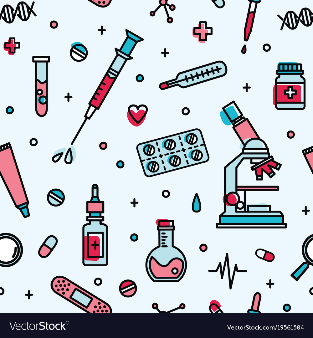 seamless pattern with medical laboratory equipment rh vectorstock com Laboratory Design Color medical lab vector