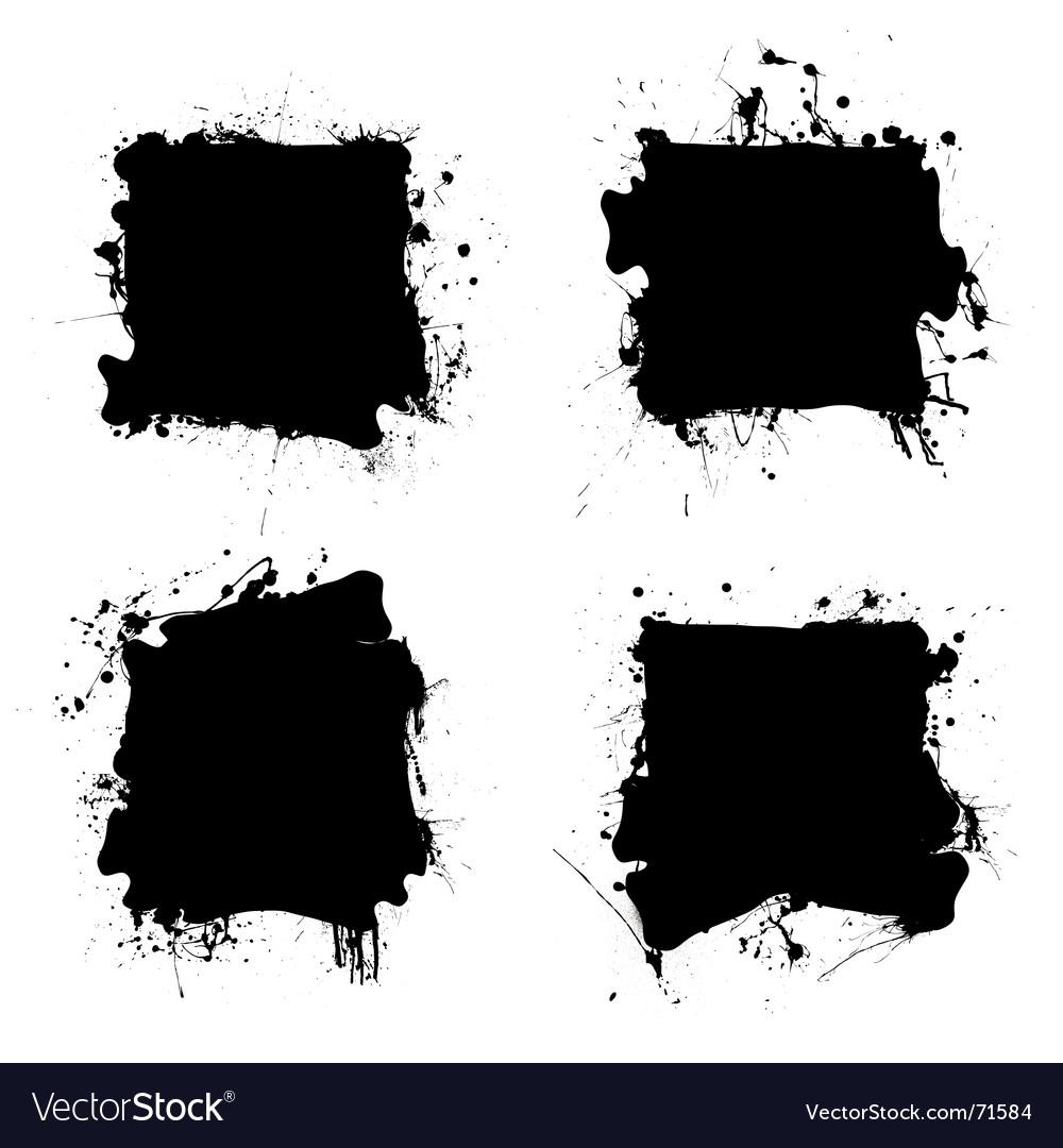 Square black ink splat vector image