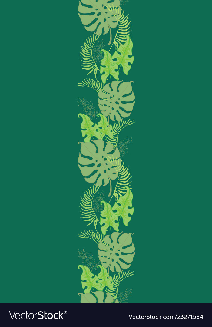Tropical green leaves seamless border frame