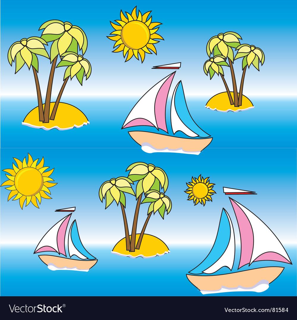 Wallpaper Beach Vector Image