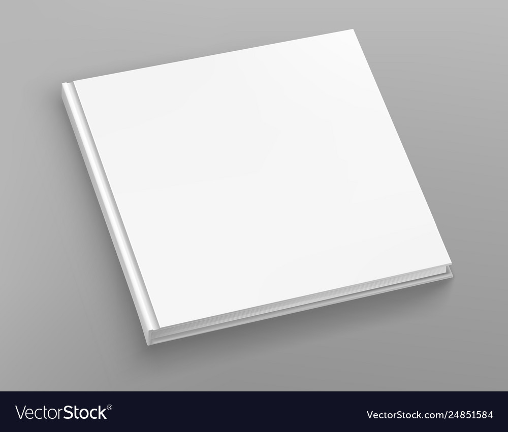 White hardcover square book album mock up on grey