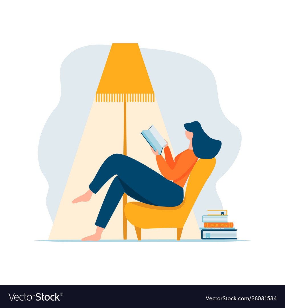 Young adult woman reading book relaxing sitting in