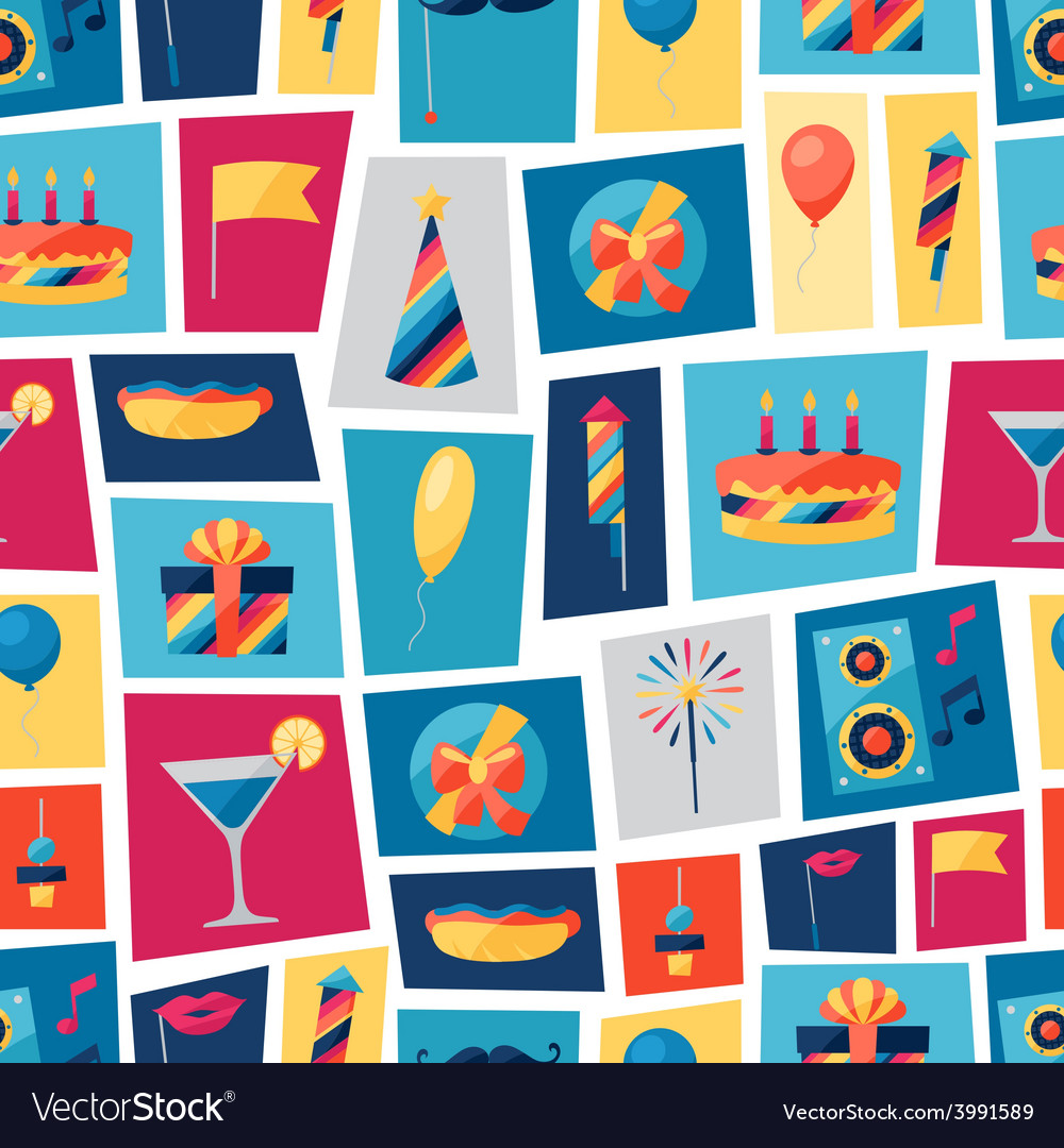 Celebration seamless pattern with party icons and