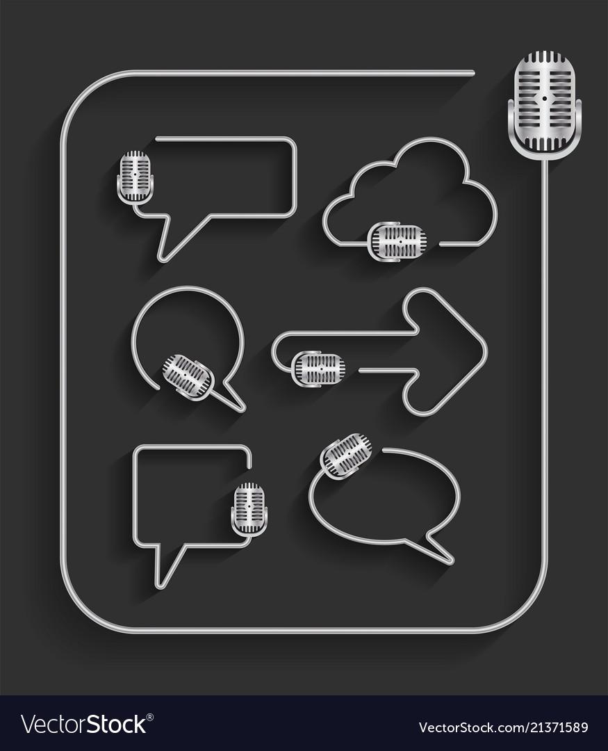 Creative microphone in shape speech bubbles