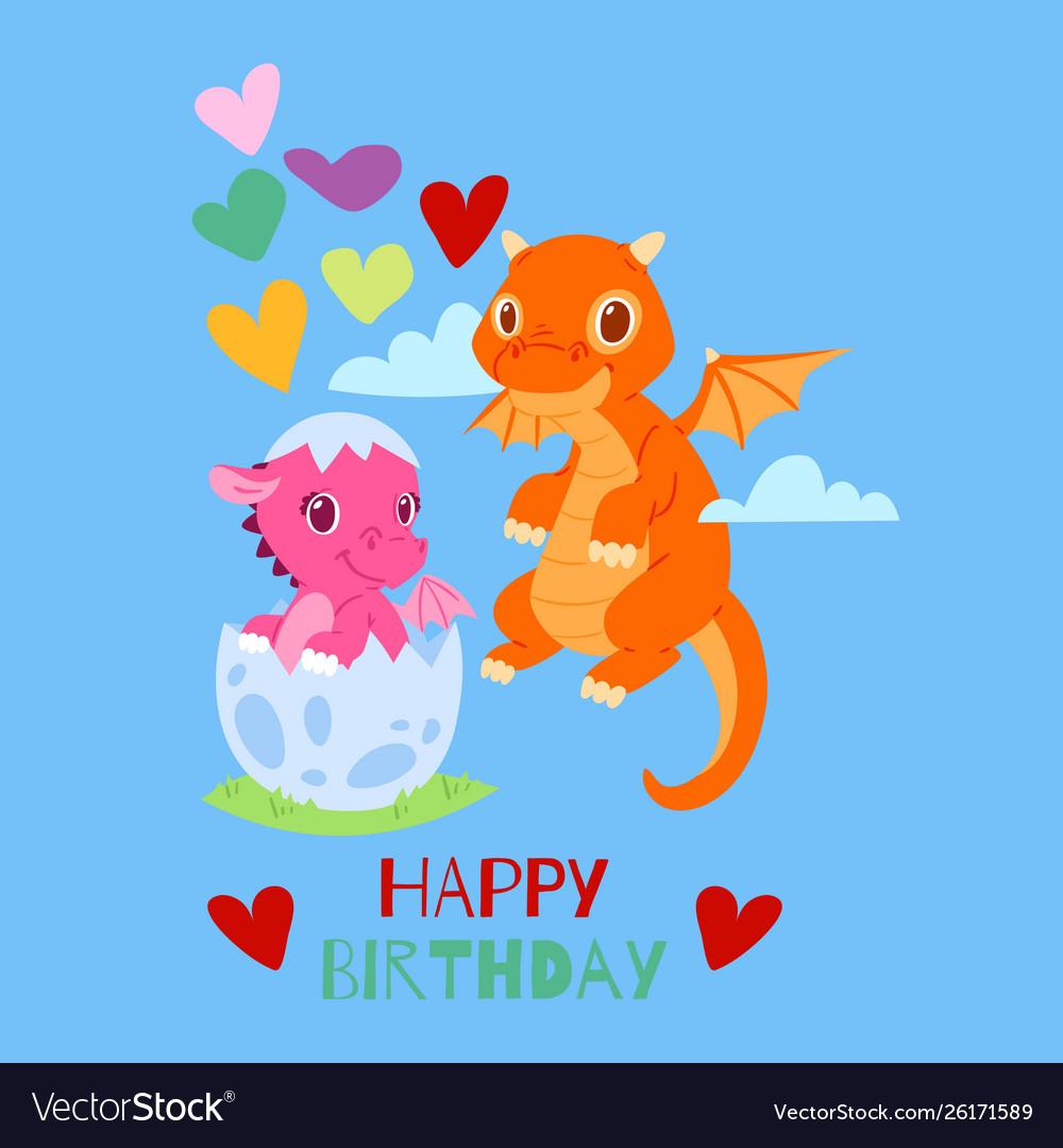 Dragons happy birthday card banner