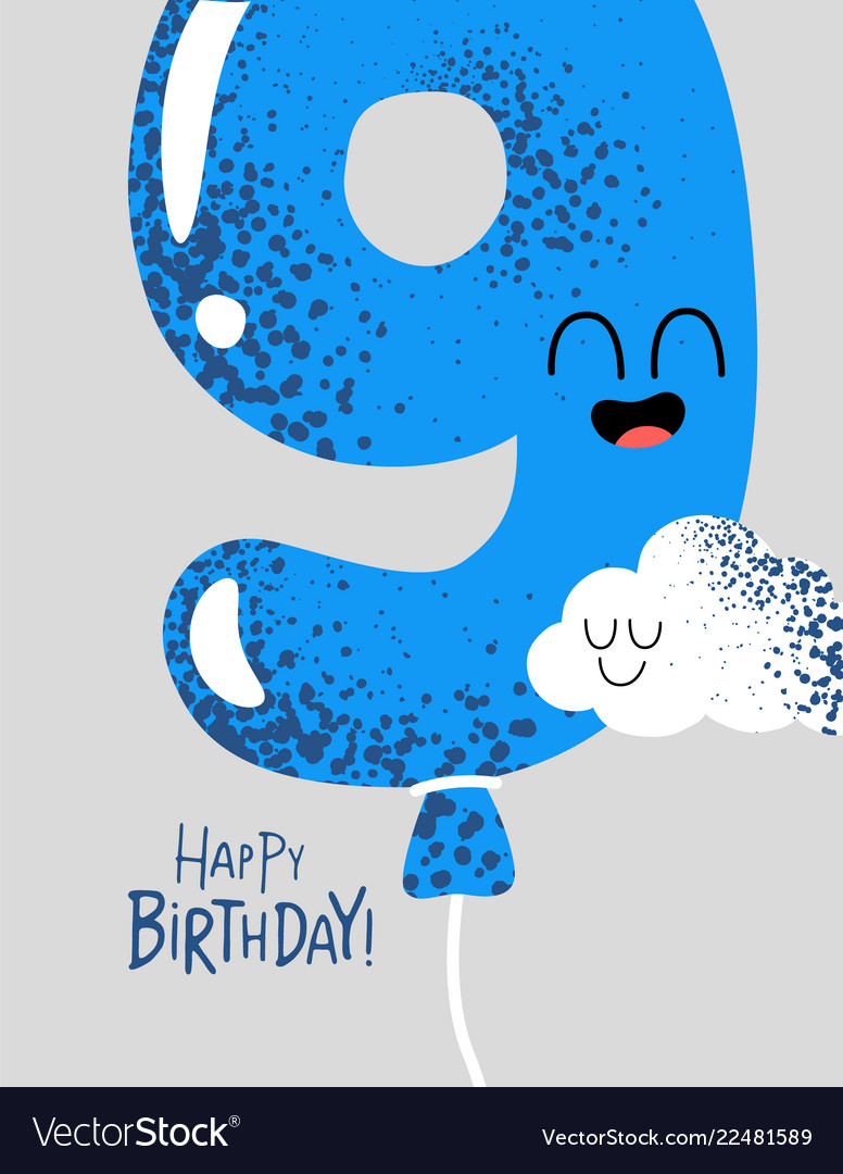 Funny happy birthday gift card number 9 balloon