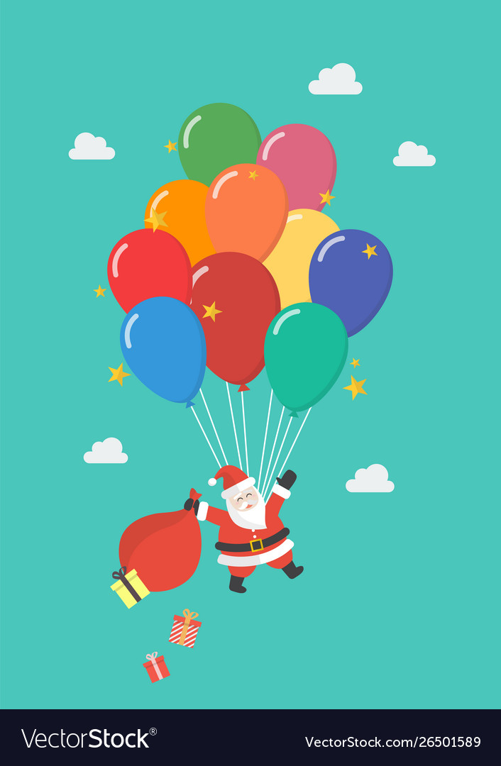 Santa claus hanging on balloon