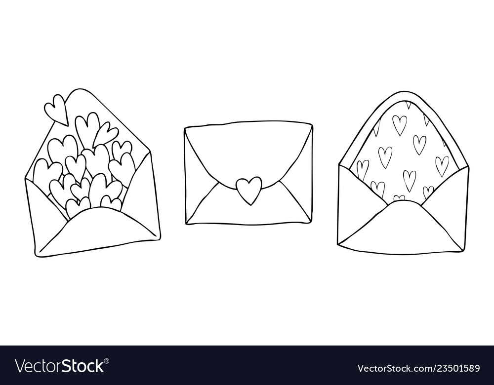 Set of three doodle drawing love letter with
