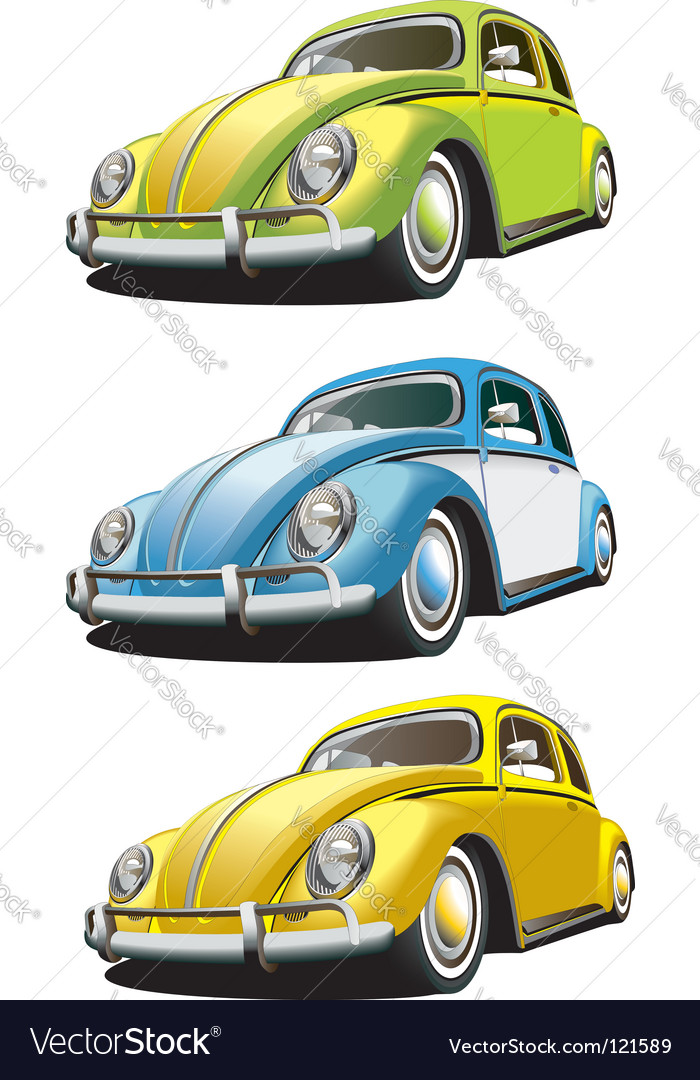Vintage car set vector image