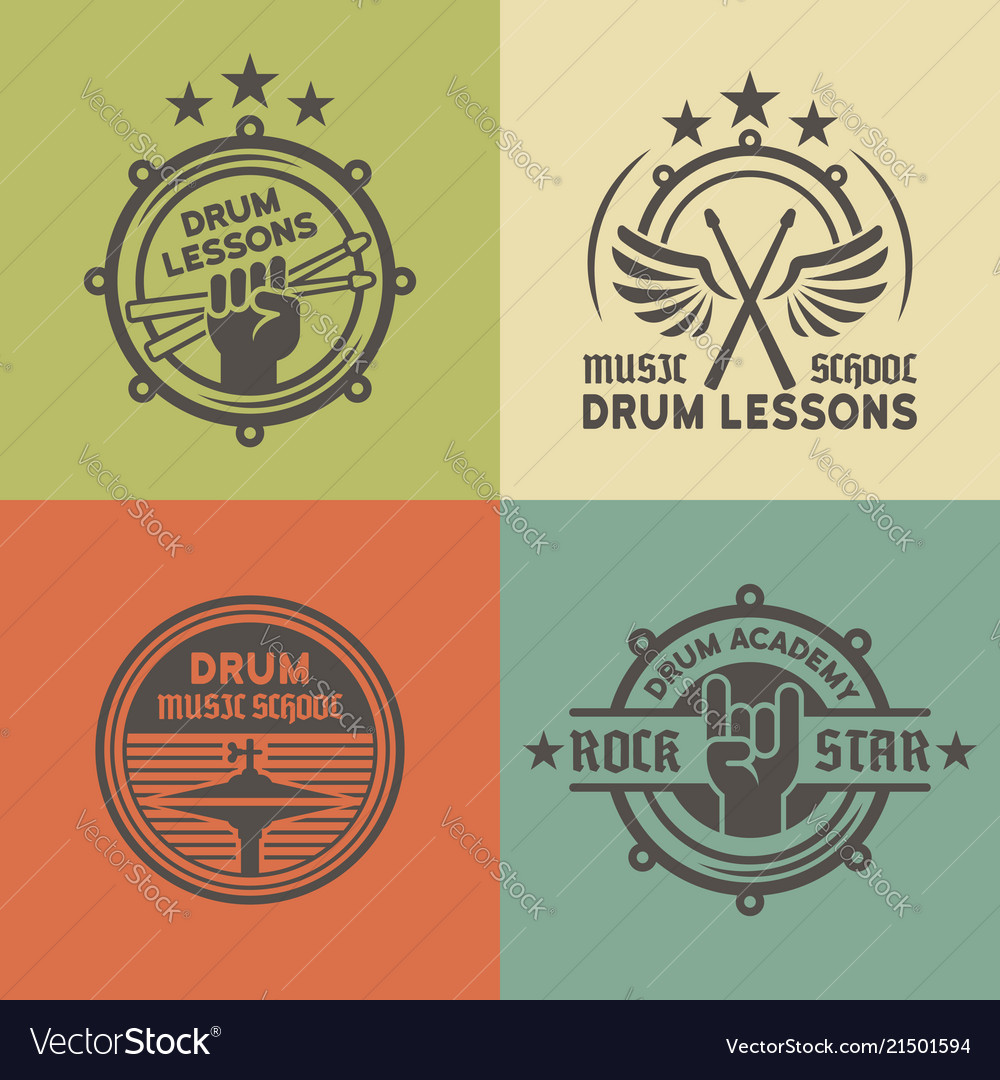 Drum school or academy colored emblems