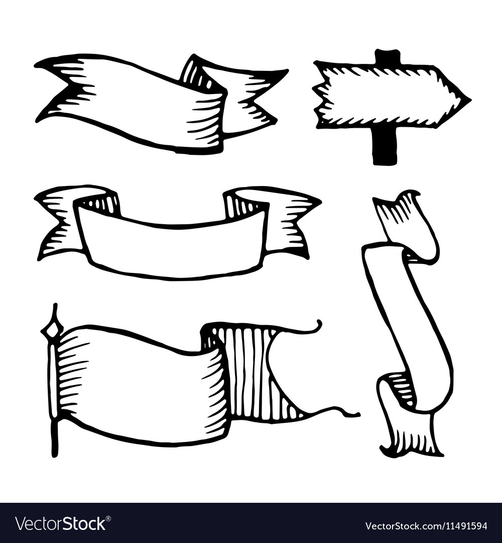 Hand drawn sketch ribbons vector image