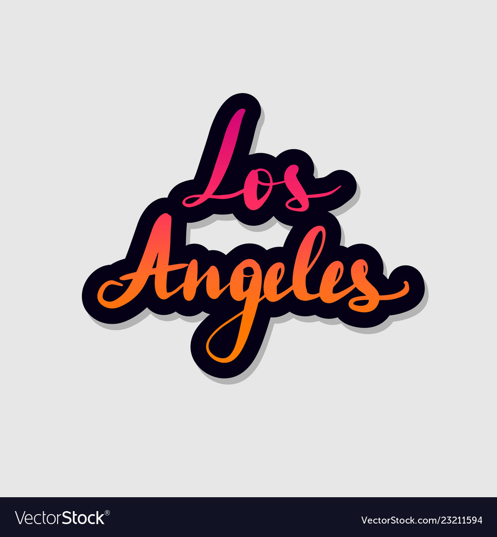 Handwritten Lettering Typography Los Angeles Vector Image,Clash Of Clans Builder Hall 4 Base Design