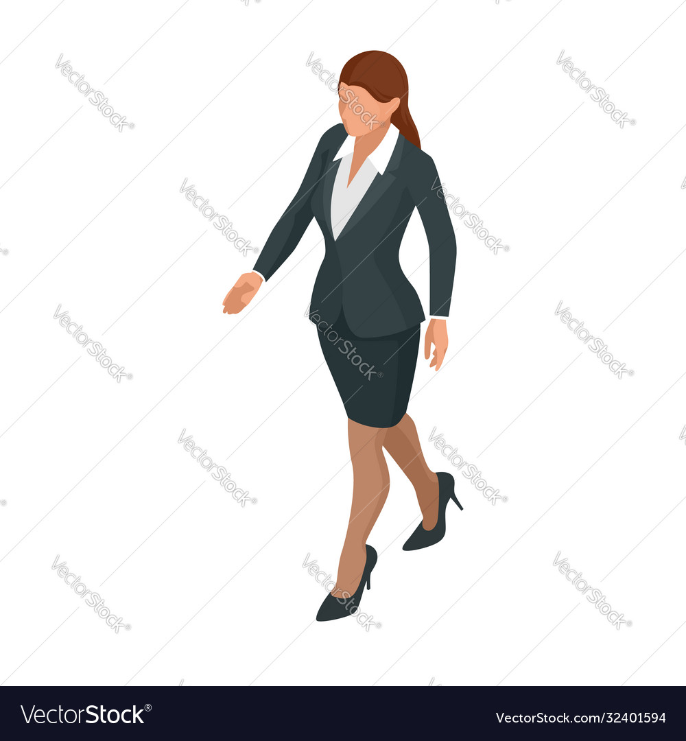 Isometric business women stylish isolated on white vector
