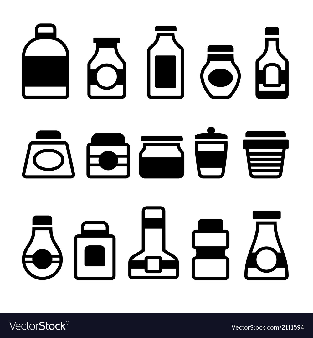 Jar Icons Set Black Silhouette on White Background vector image