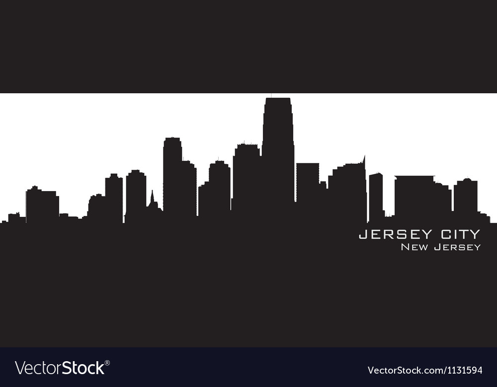 Jersey City New Jersey skyline Detailed silhouette vector image