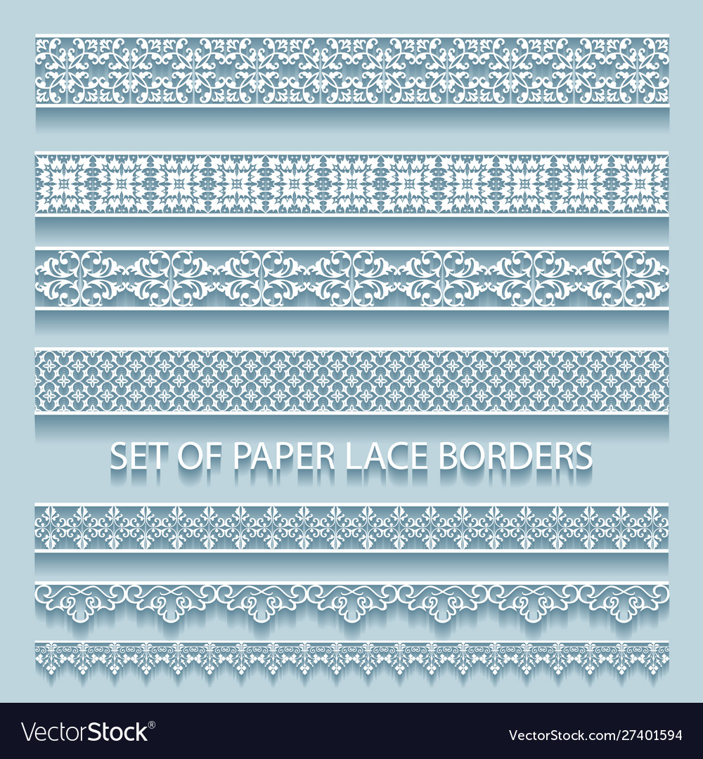 Set paper volumetric lace borders collection