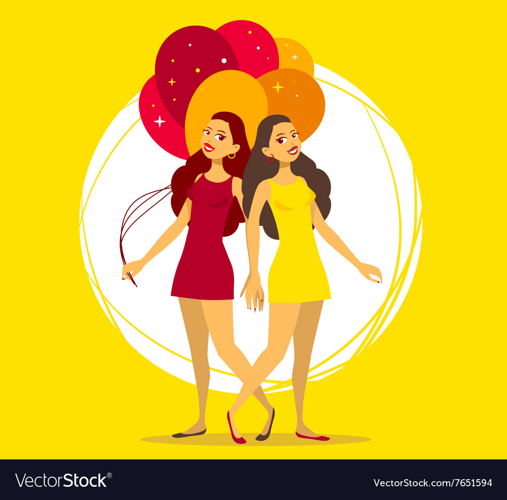 Two young girls with bunch of balloons on