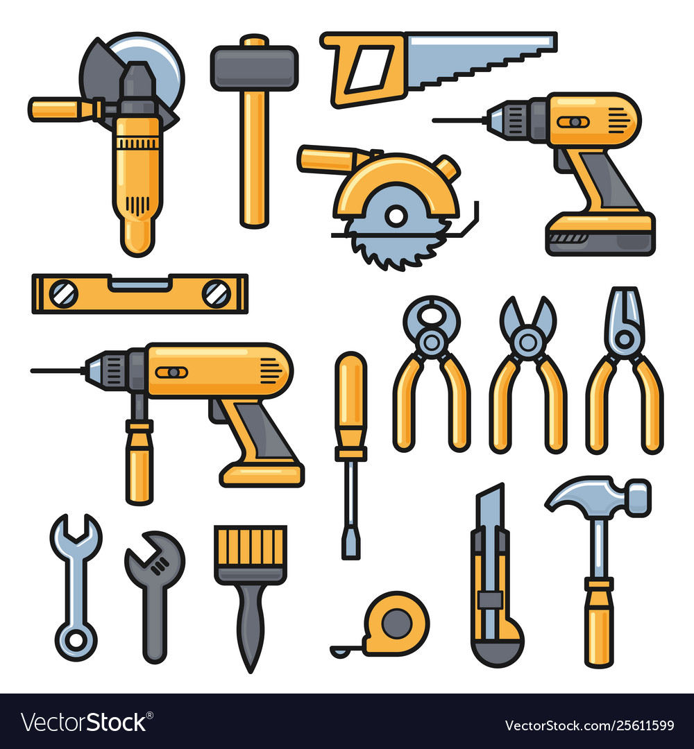 Building and repair tools icons construction