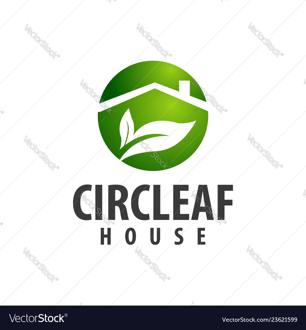 Circle leaf house logo concept design symbol