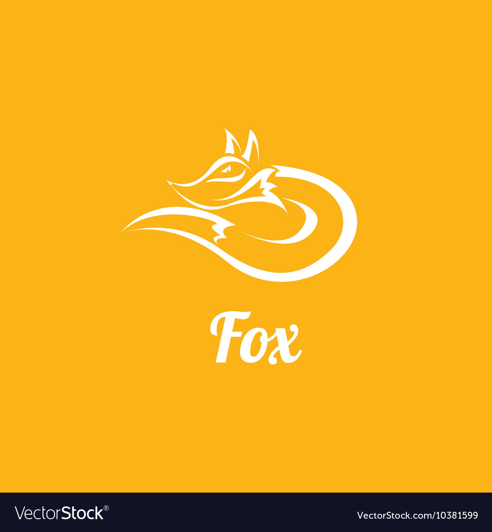 Fox sign label or tattoo design