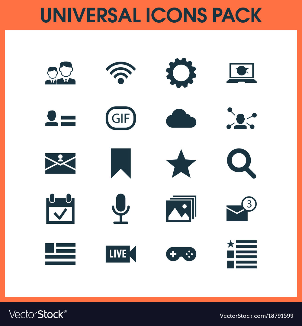 Media icons set with questionnaire gif sticker