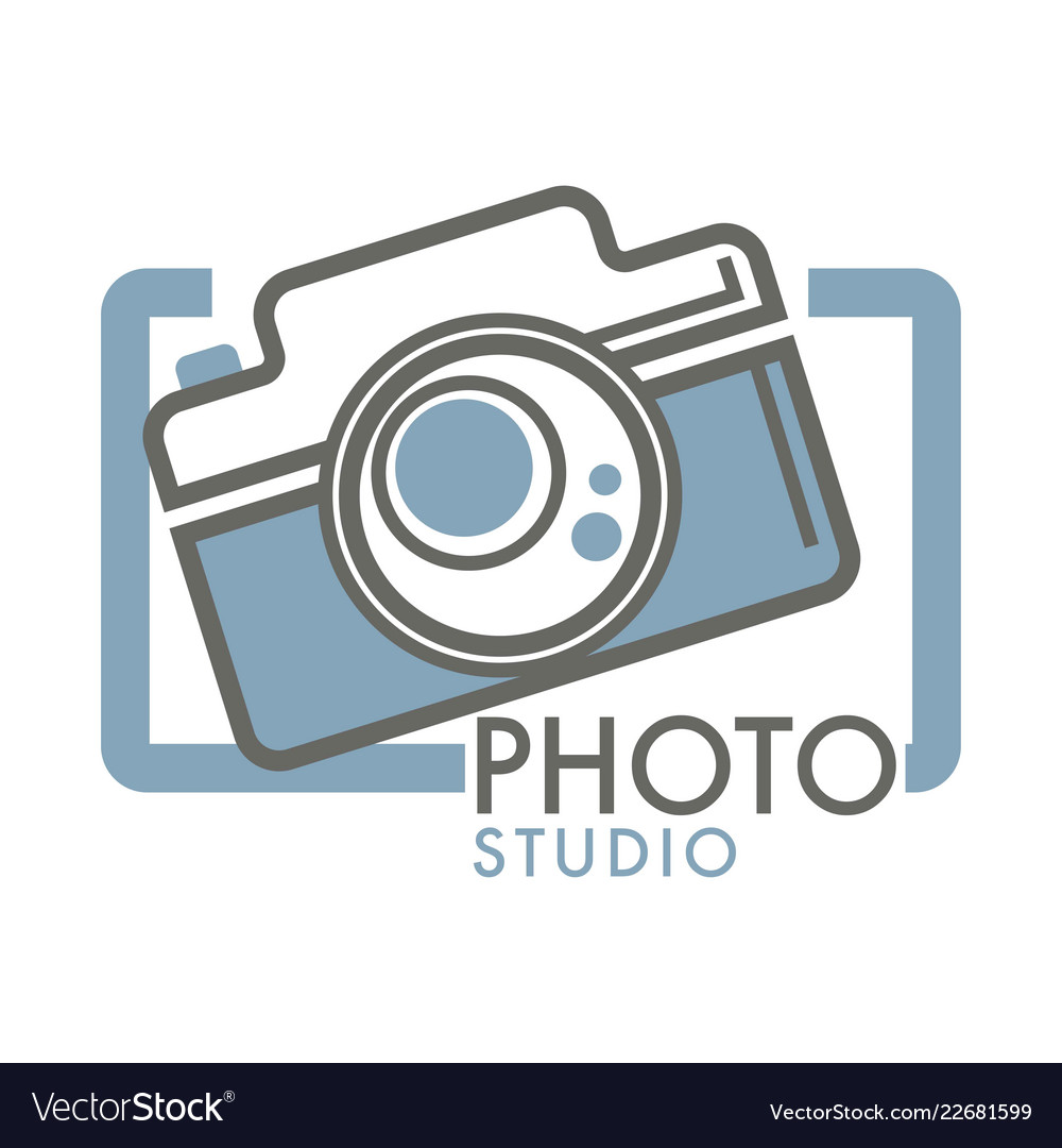Photo studio camera with glass lens in frame