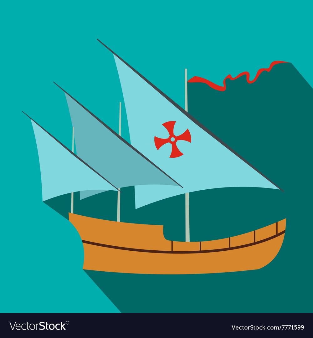 Santa Maria sailing ship icon flat style