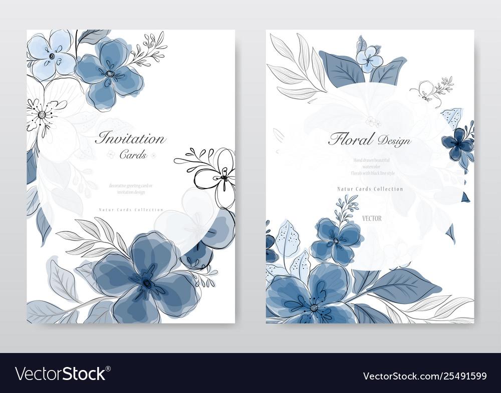 Set beautiful blue watercolor florals card