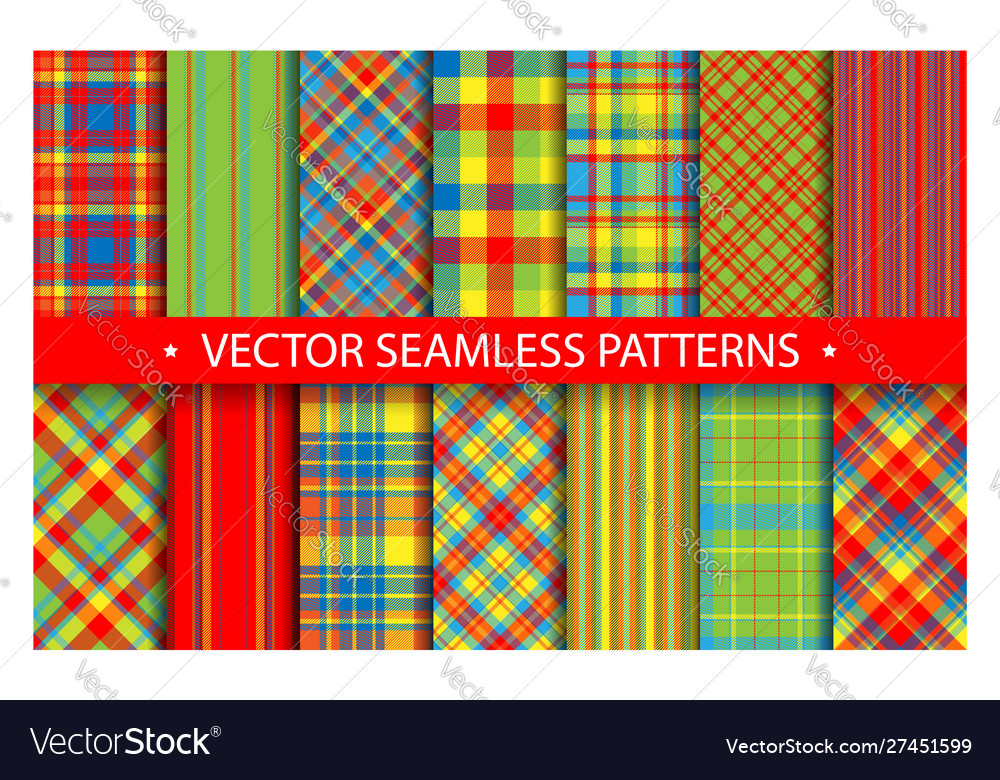 Set plaid pattern seamless tartan patterns fabric