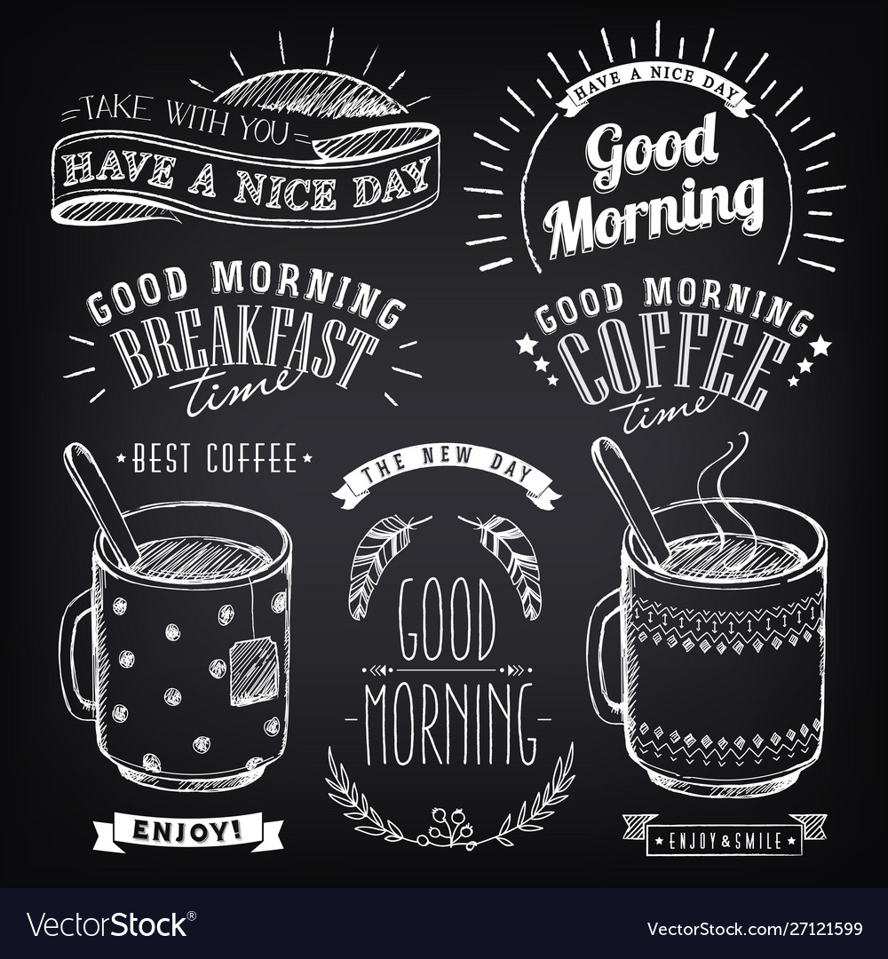 Set vintage coffee labels on chalkboard