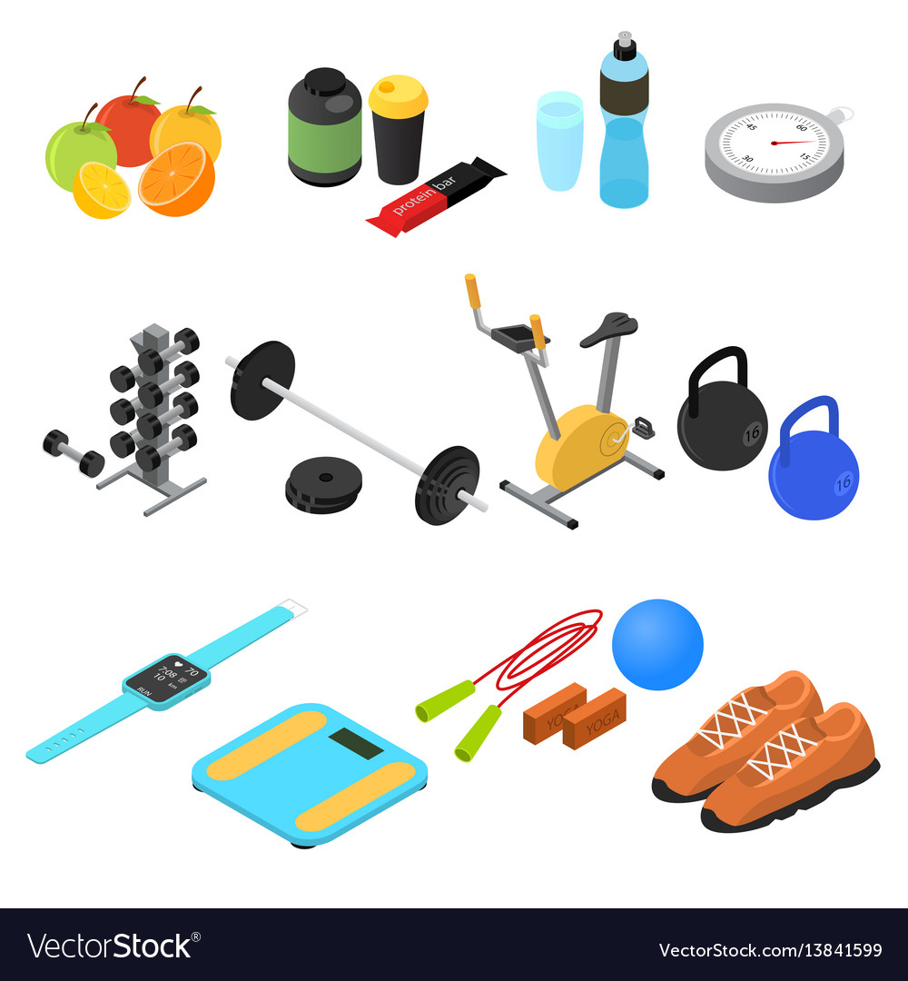 Sport color icons set isometric view
