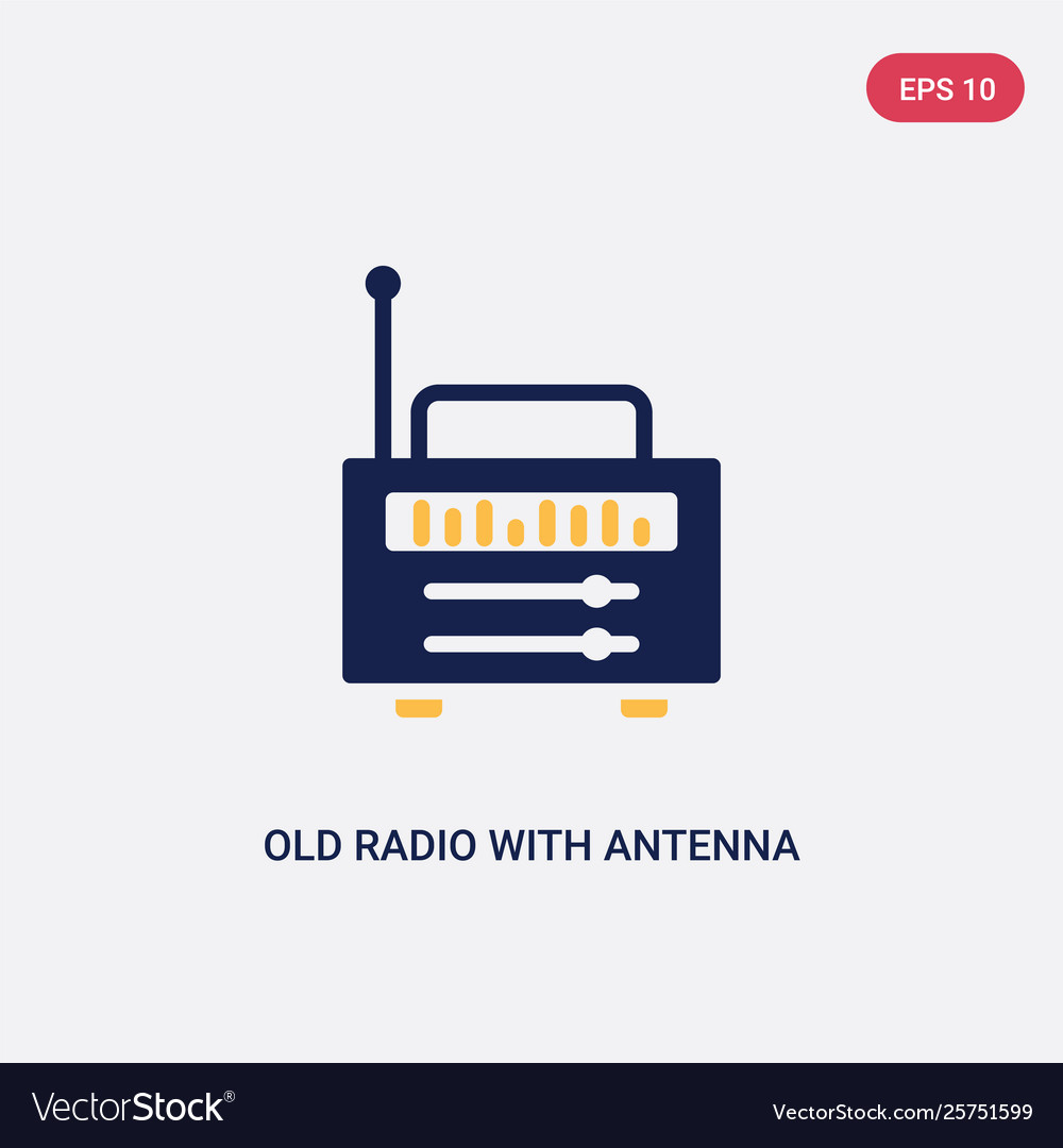 Two color old radio with antenna icon from