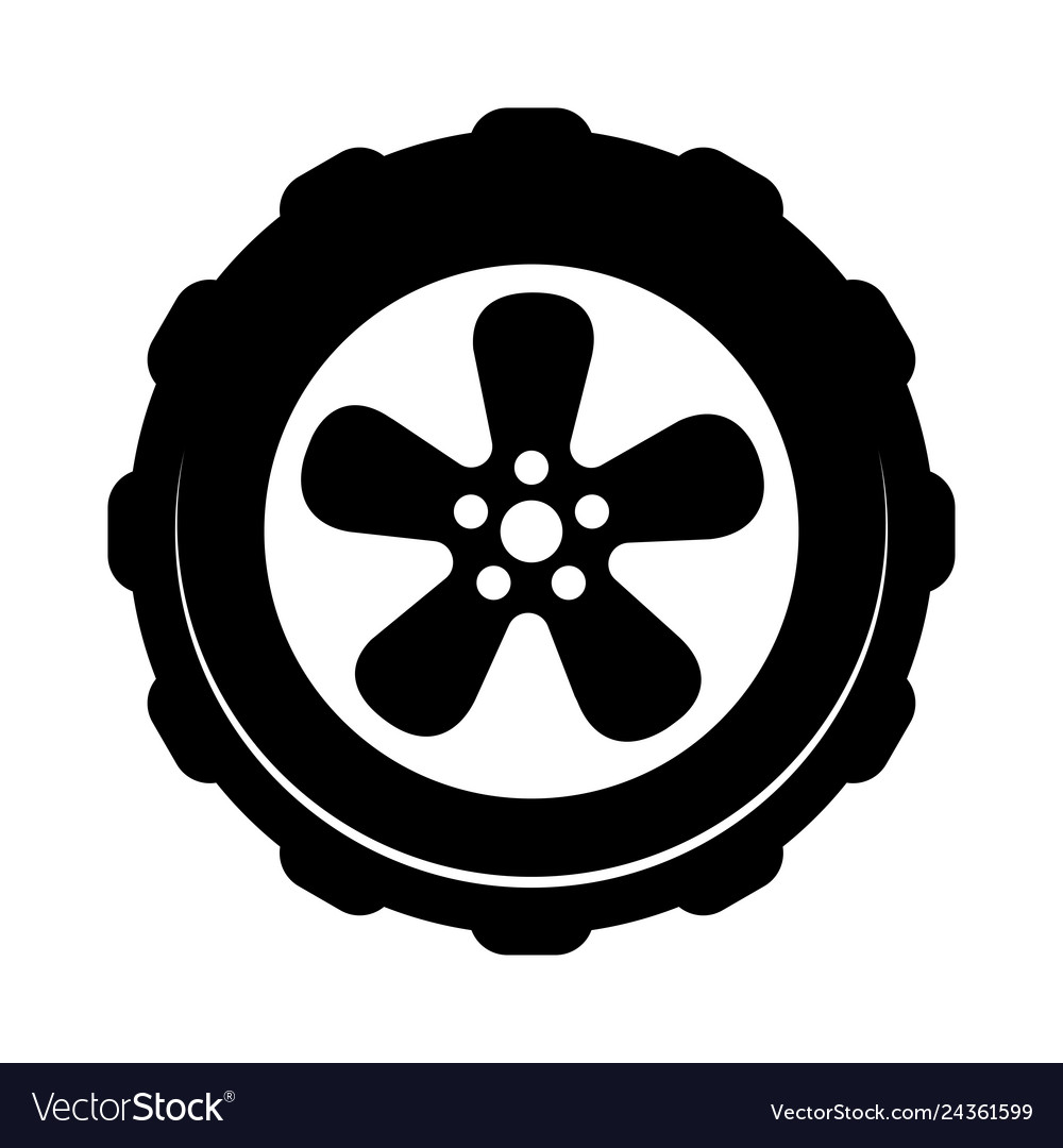 Wheel icon isolated on white background simple