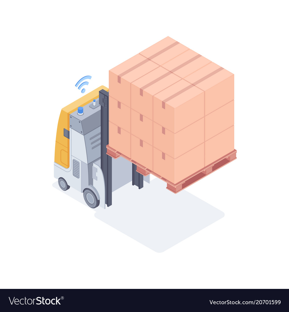 Wi-fi forklift lifting boxes isometric