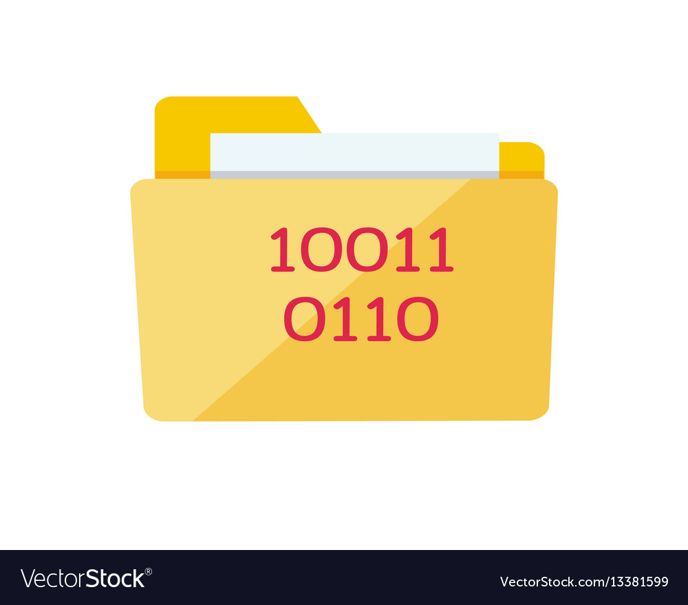 Yellow web folder sign with it data interface