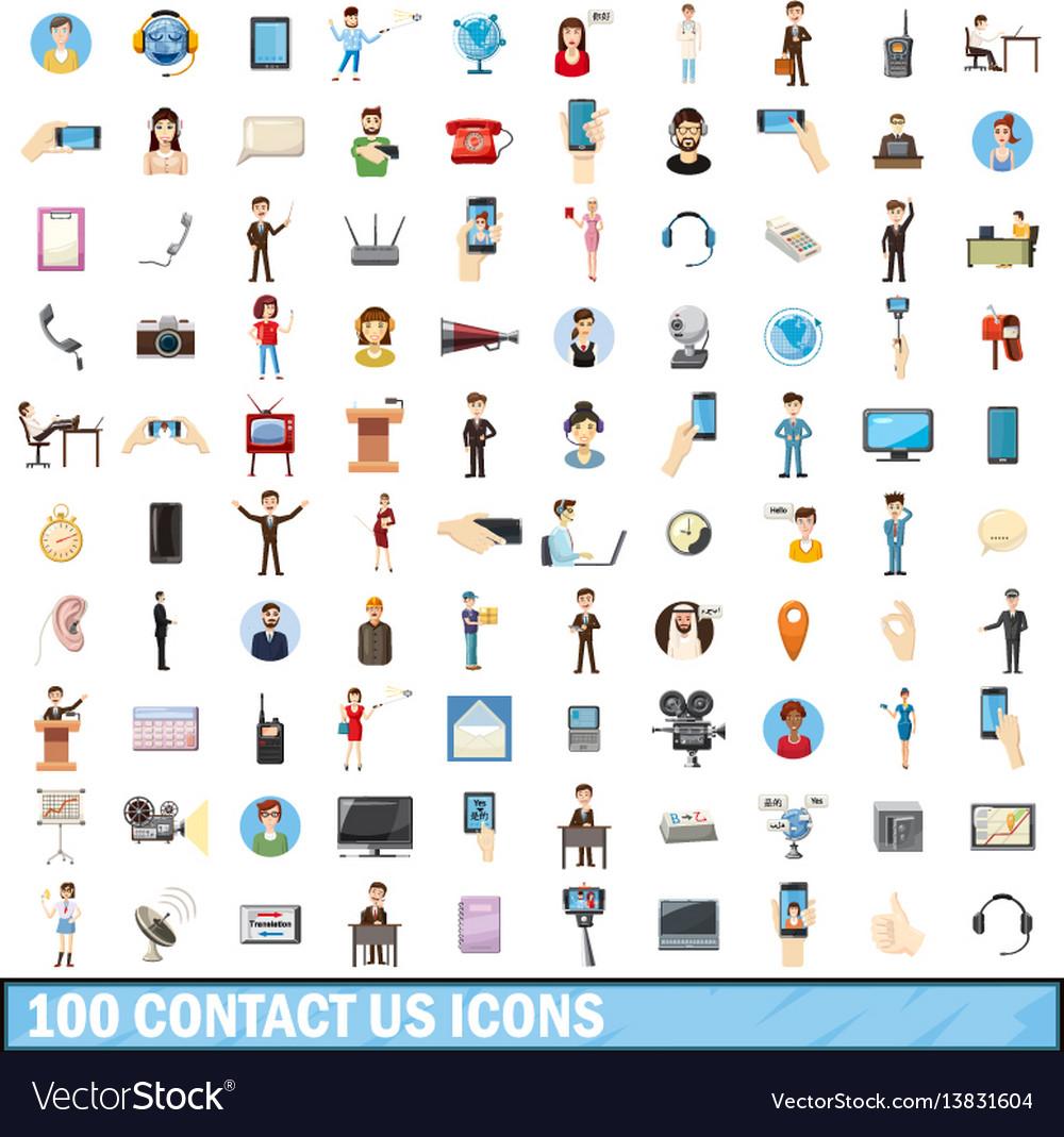 100 contact us icons set cartoon style