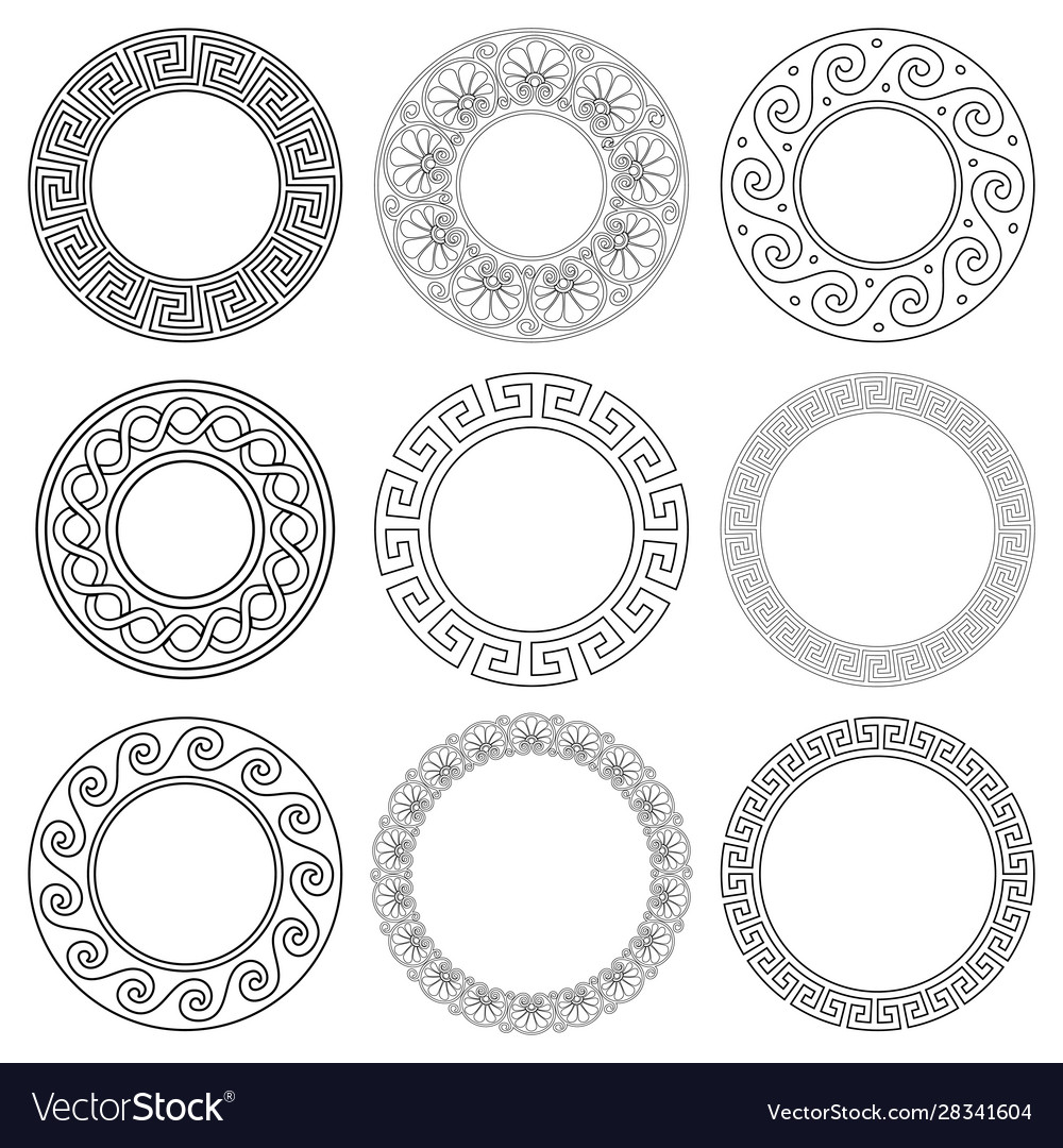 Ancient greek mandala pattern set stroke vector