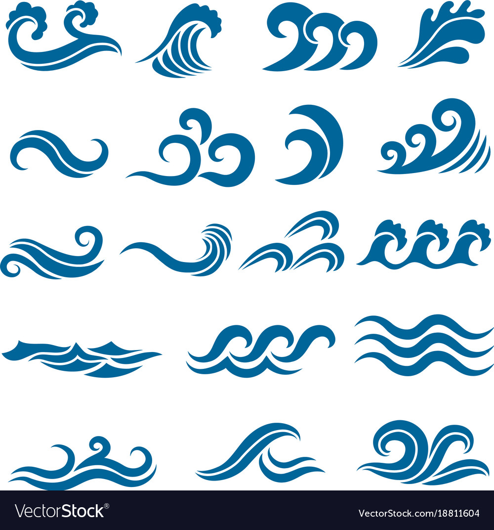 Big set of stylized ocean waves colored