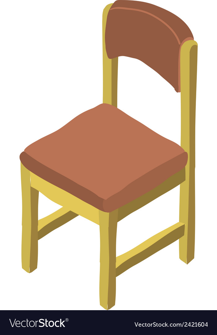 Cartoon isometric wood chair icon royalty free vector image