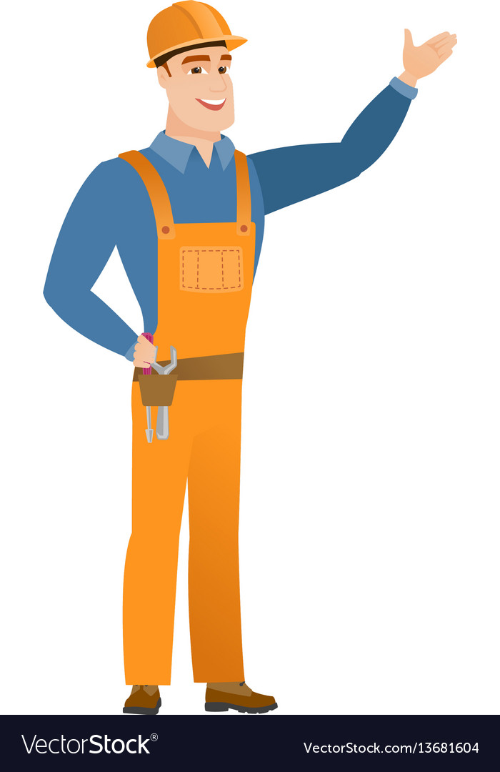 Caucasian builder showing a direction vector image